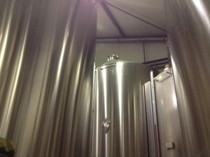 Lots of big stainless steel tanks at Domaine J. Laurens.